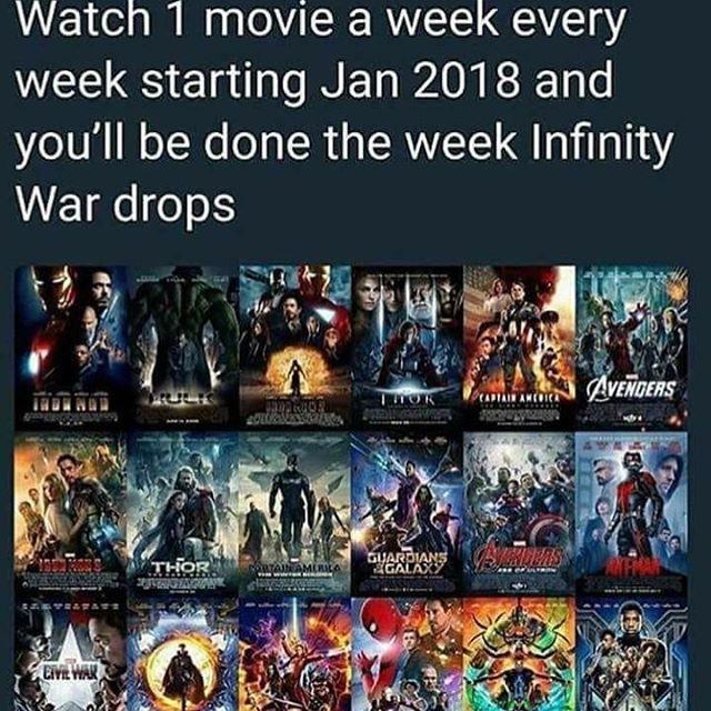 Or watch it all in three weeks. Whatever. -k2 #Marvel #MCU #Avengers #InfinityWar  #MarvelMovieMarathon