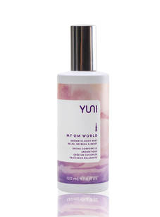 MY OM WORLD is and Aromatic Body Mist that promotes focus and clarity and helps you feel refreshed and relaxed.