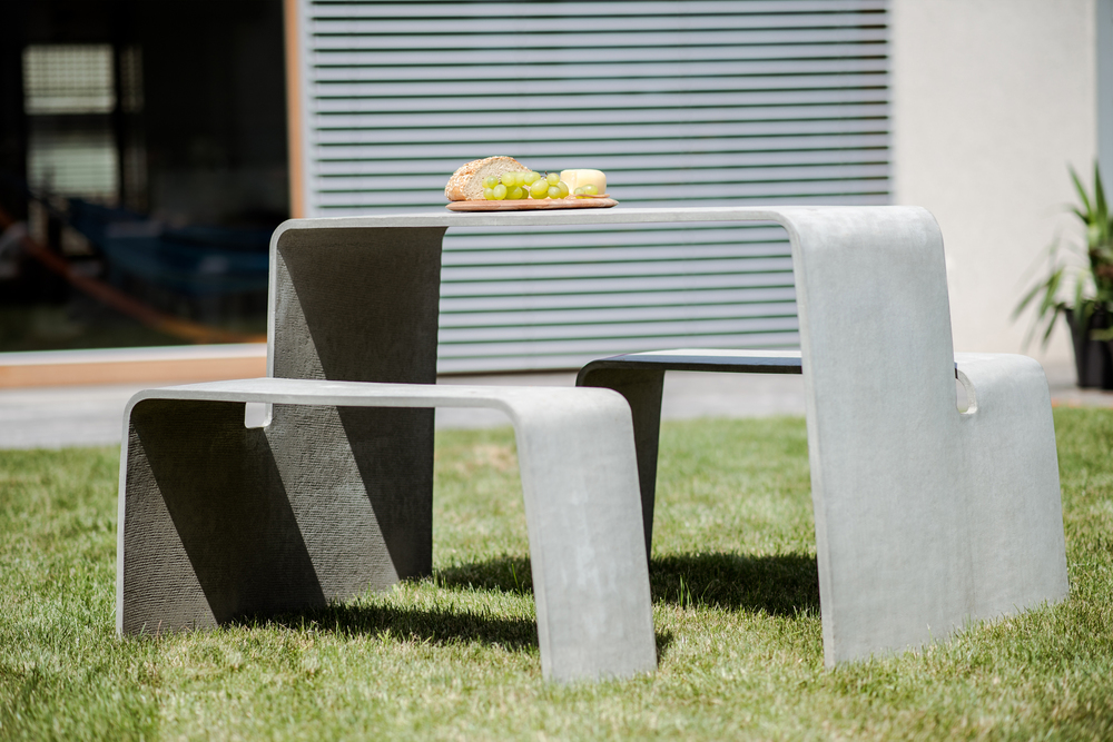 Concrete Garden - Double Bench, outside