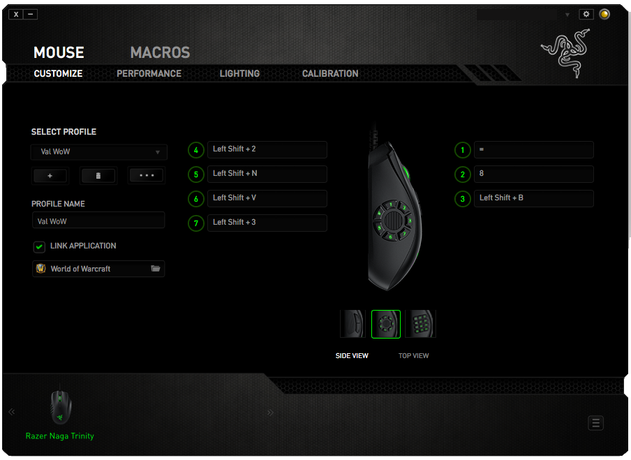 My current Razer Synapse settings on Mac OS