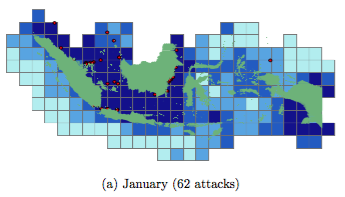 Cool display of the attacks (red dots) and fishing conditions (blue squares) from Axbard's paper. From Figure 5.