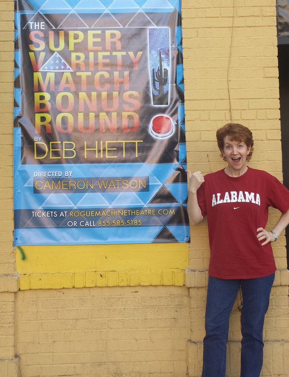 The Alabama shirt is unrelated to the show -- we were playing LSU that day, and even though I was at the theater for tech, I have to wear my good luck game-day attire....