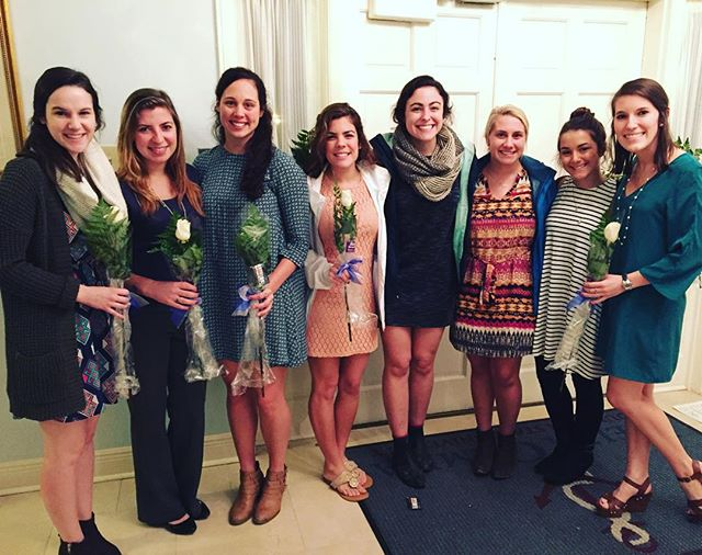 Tonight we welcomed eight wonderful sisters into the alumnae life! From left to right: Senior Elizabeth Reed, Senior Lauren Fontenot, Senior Steph Webber, Junior Katie Fleuriet, Sophomore Giavanna DeVille, Sophomore Jordan Jarreau, Sophomore Katherine Wilson, and Sophomore Mallory Lorio! We wish you ladies the best with your future endeavors & remember you are always anchored for life!⚓️