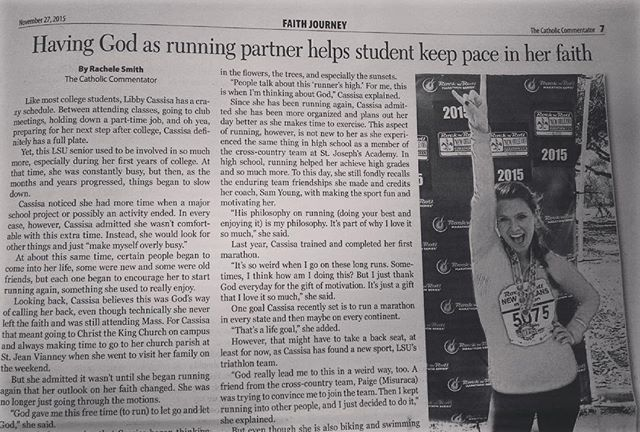 If you know anything about Senior Libby Cassisa, you know she loves being active, especially running. Recently, Libby's love of running was highlighted in the Catholic Commentator, a newspaper of the Diocese of Baton Rouge. Libby shared why she loves to run and how running has brought her closer to her faith. Congratulations to our sister for #DoingGood and sharing her faith-filled story with others! #WCW