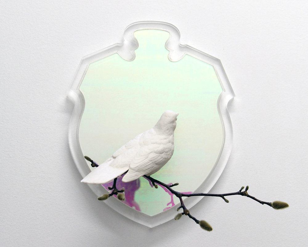 Mirror Mirror,  2016 Porcelain, acrylic, branch