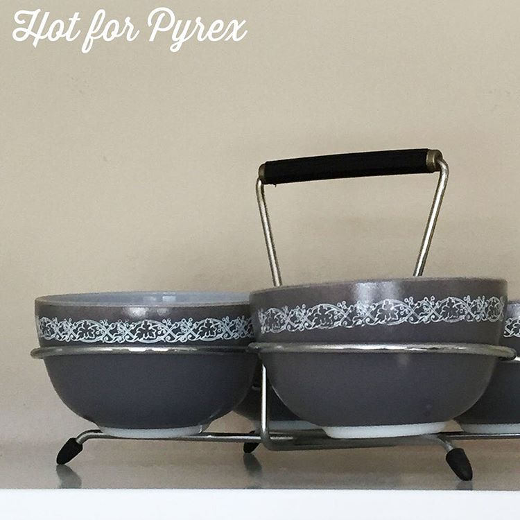 Day 92 of 100 - Last day of grey - the perfect color for a rainy day in SoCal.  How cute is this set?  I like to imagine the cool retro appetizers that have been served up in these cups. #pyrex100 #100hfp #hotforpyrex #htfpyrex #love #pyrex #pyrexlove #pyrexpassion #pyrexia