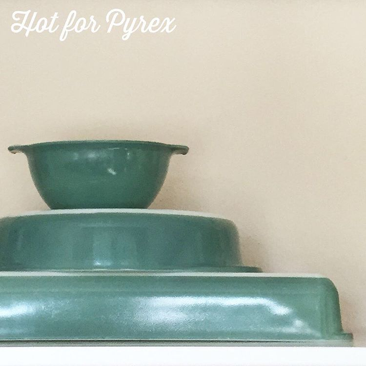 Day 88 of 100 - First there were the reds, and now there are the greens!  These are a few pieces from the Regency collection.  Color look familiar?  They share the same shade of green as the Heinz promotional dish.  #love #pyrexlove #100hfp #pyrex100 #pyrex #pyrexpassion #pyrexporn #pyrexia #pyrexlove #hotforpyrex #htfpyrex