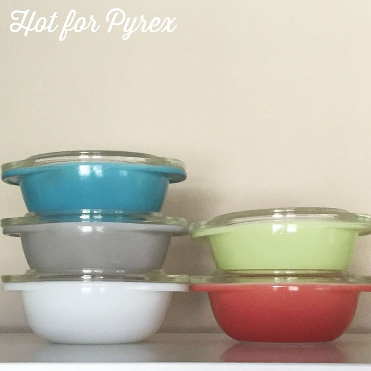 Day 74 of 100 - Fact: miniature versions of things are cute.  These little 080 casseroles are tiny and adorable. While the flamingo and lime dishes aren't rare, the Canadian turquoise and dove grey are harder to find.  #100hfp #htfpyrex #pyrexpassion #love #pyrexlove #hotforpyrex #pyrex100 #pyrexporn #pyrexaddict #pyrexia