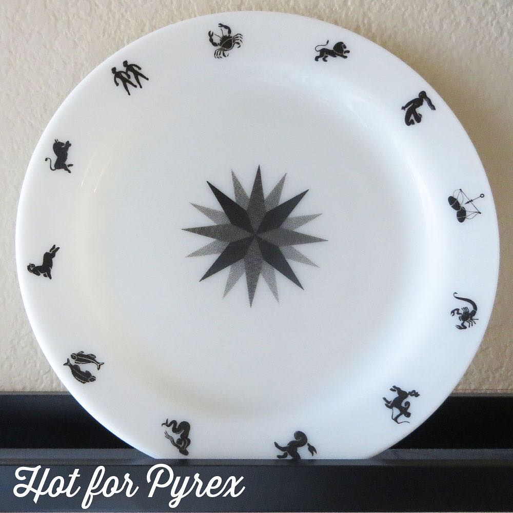 Day 68 of 100 - The zodiac plate. Simple black design with the zodiac signs on a plain opal plate. So clean, but so beautiful. The star on the plate's center is shared with the zodiac promotional casserole. #htfpyrex #pyrexpassion #love #pyrexlove #pyrexproblems #rarepyrex #pyrexporn #hotforpyrex #100hfp #pyrex100 #pyrexaddict