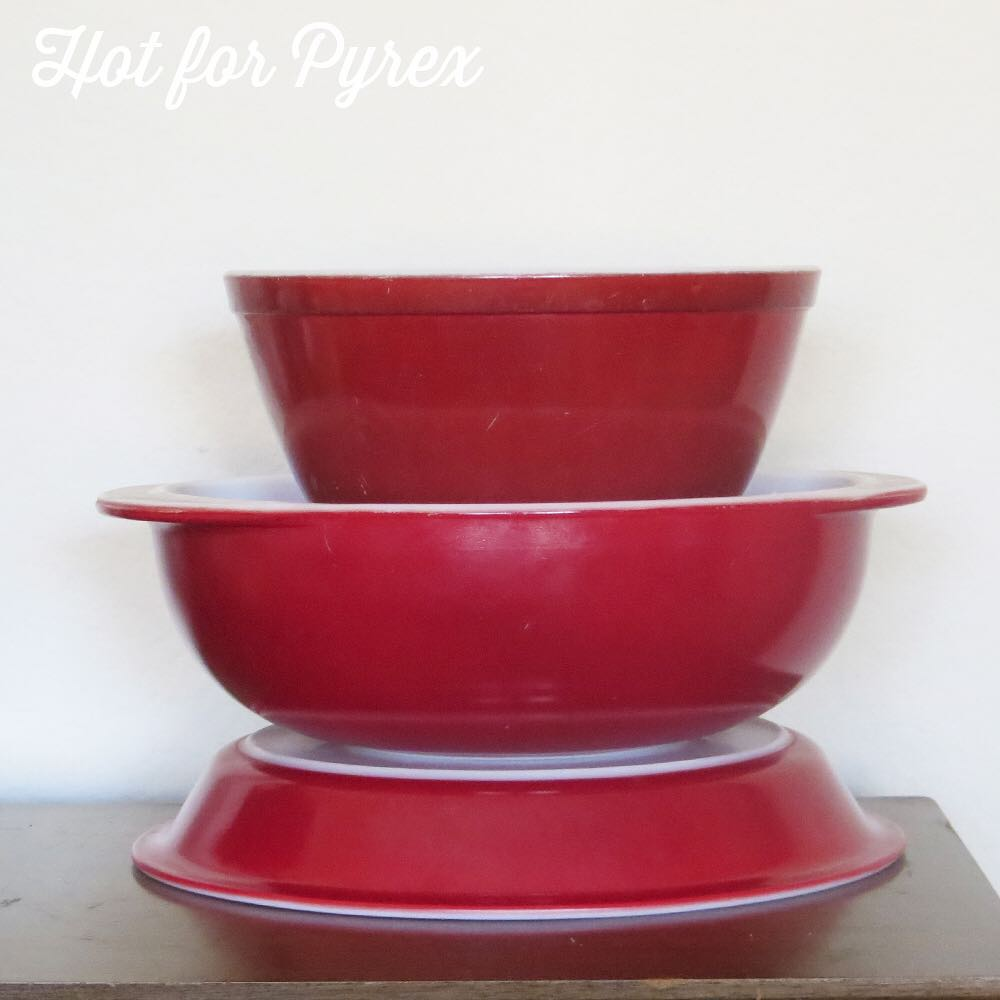 Day 52 of 100 - Burgundy! In addition to the pieces shown here, fridge dishes sharing the burgundy color have surfaced. #100hfp #hotforpyrex #rarepyrex #love #pyrexlove #pyrexpassion #htfpyrex #pyrexaddict #pyrexproblems #pyrexporn