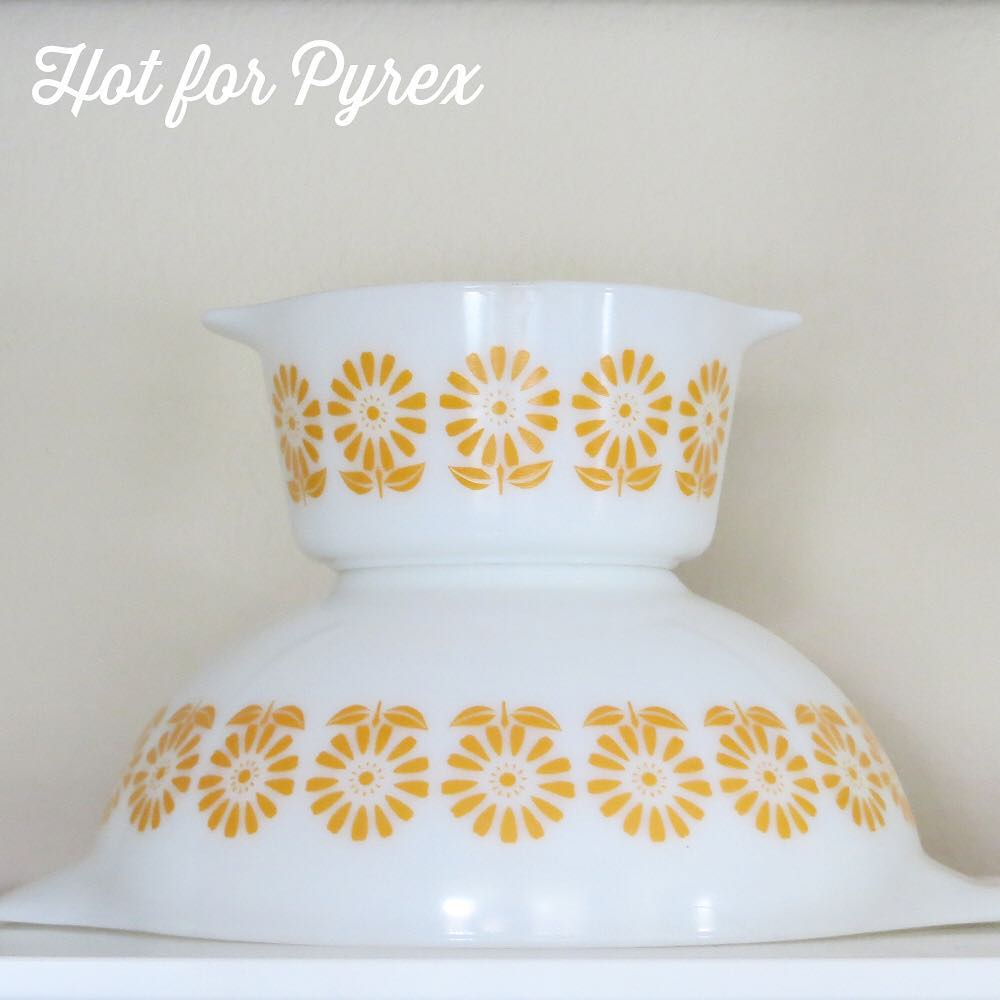 Day 48 of 100 - Only a few Pyrex shapes have shown up with this sunflower pattern.        It is a shame this design didn't become a standard run pattern.  #100hfp #hotforpyrex #rarepyrex #love #pyrexlove #pyrexpassion #htfpyrex #pyrexaddict #pyrexproblems