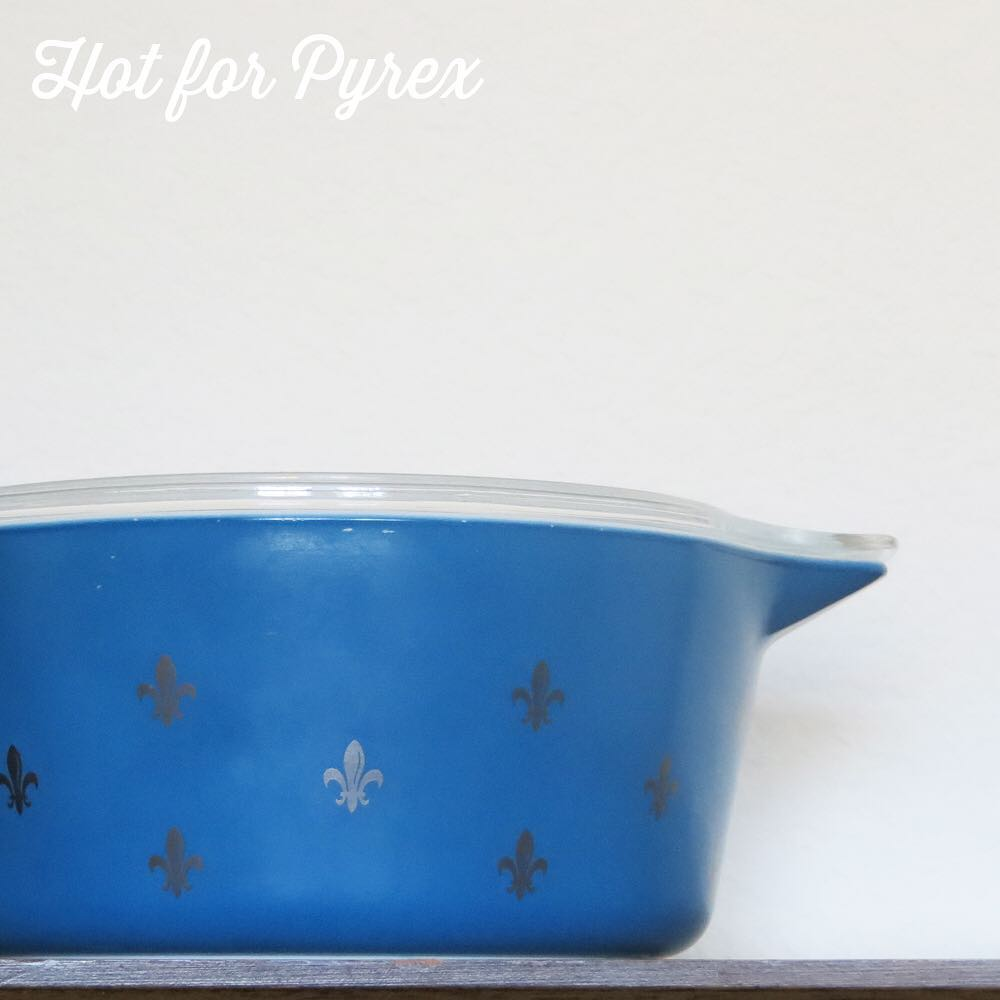 Day 32 of 100 - the fleur de lis ply gene continues in silver on blue.  Most of the metallic decoration that was done on Pyrex glass was done in gold, so this silver  version sticks out from the rest.  #100hfp #hotforpyrex #pyrexaddict #vintagepyrex #rarepyrex #pyrexlove #pyrexpassion #vintageglass #love