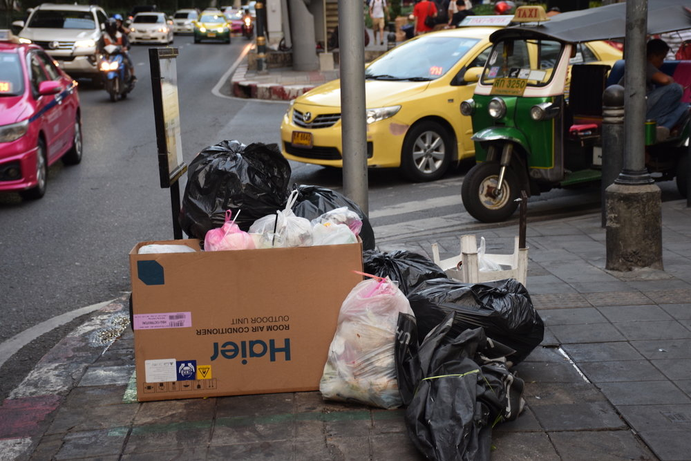Rubbish is seen on a Bangkok street. Thailand has struggled for years to deal with the vast amount of plastic waste it generates. That is why news of tons of foreign waste being imported into the country has created so much anxiety. Photo: Rajat Sethi