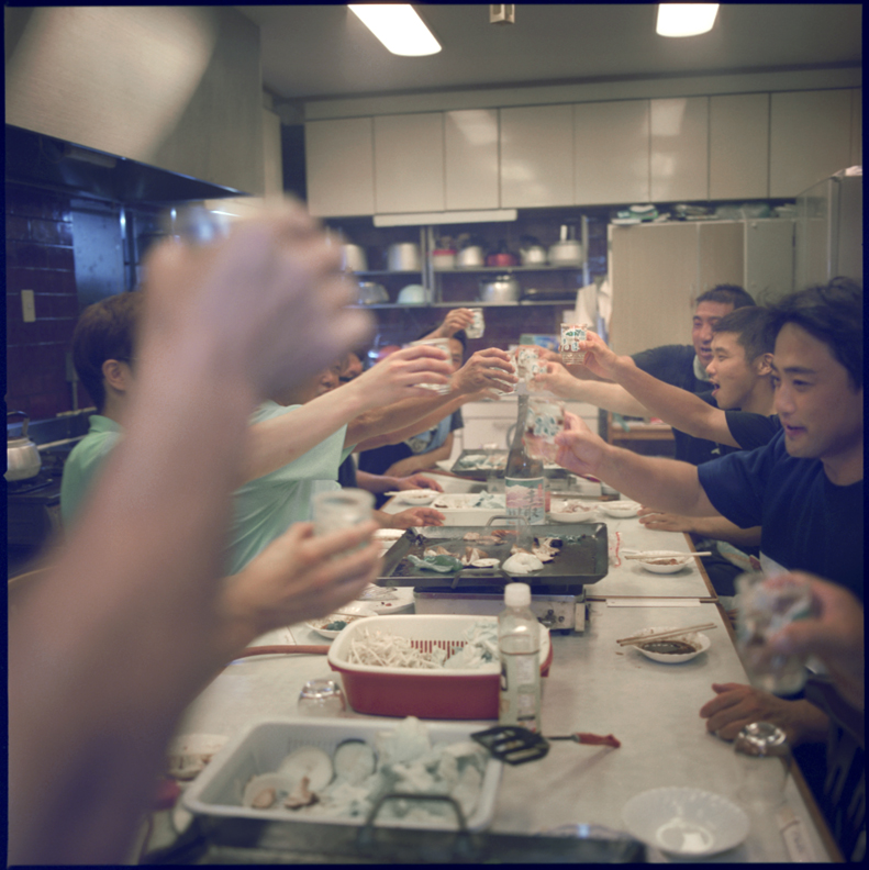 Toasting at the beginning of the sake season.