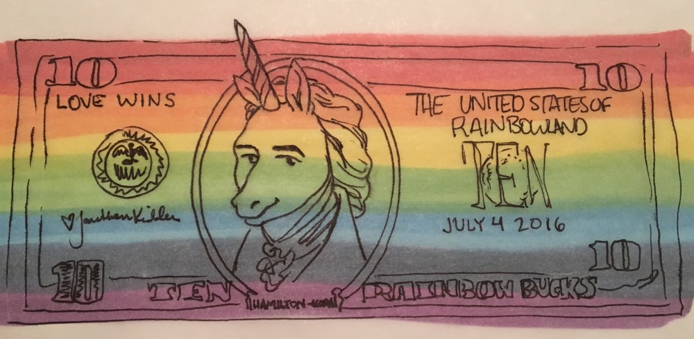 Alexander Hamilton as you will see him when you ask me for 10 Rainbow-Bucks and I draw it on some tracing paper.