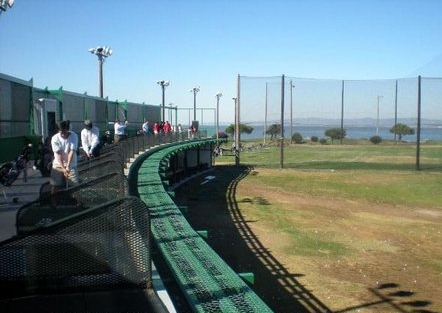 Double-decker driving range at mariners point golf center