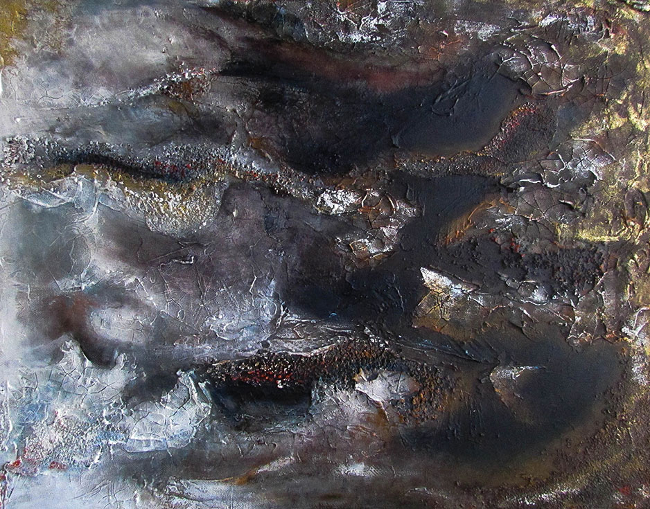 """CREEP 16"""" X 20"""" Mixed media on canvas  Fall creeps into winter. The decay freezes into a blanket of white to await."""