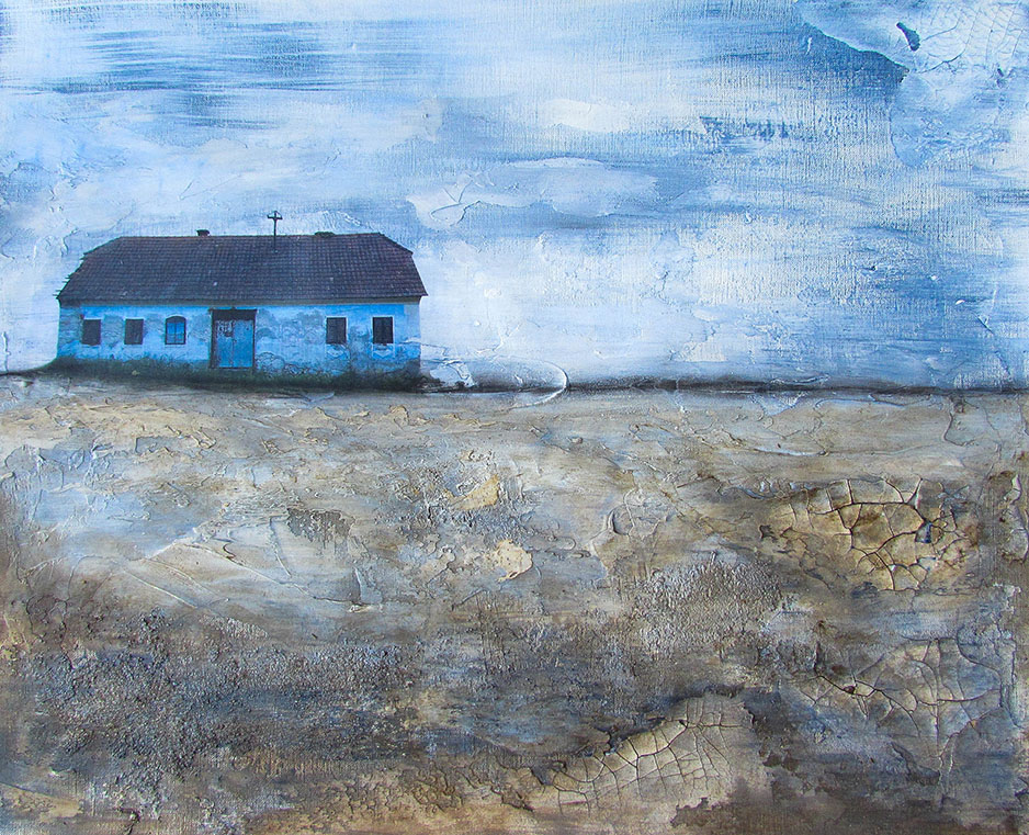 """BLUE DREAMS  16"""" X 20"""" Mixed media on paper mounted on wood panel, Image Location: Slovenia  I am dreaming in blue of a place that never was"""