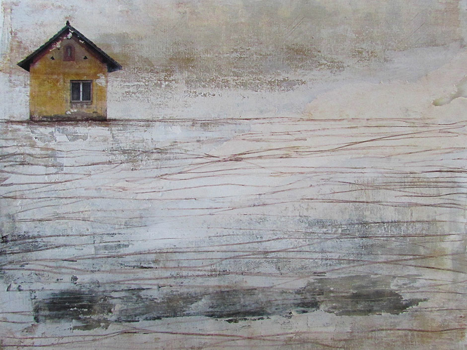 """DEITY IN THE WINDOW 12"""" X 16"""" Mixed media on paper mounted on wood panel, Image Location: Slovenia  Keeping watch through the winter"""