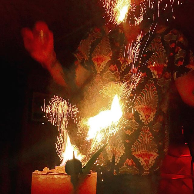 Had a great time @bootleggertiki earlier this week. Thanks for the three dot punch bowl with 🔥!! #tiki #punch #rum #threedotsandadash #fire #palmsprings