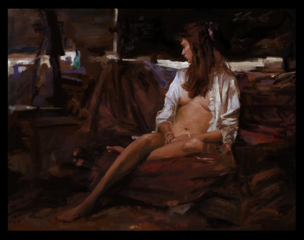 Estudo do autor de obra do pintor Richard Schmid