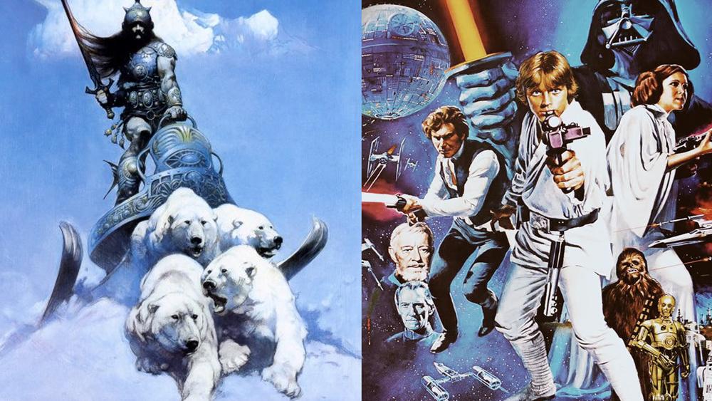 Arte de Frank Frazetta e arte promocional de Star Wars