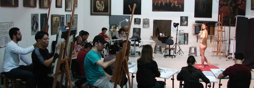 Sessão de modelo vivo no Atelie Maurício Takiguthi