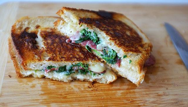 Kashkaval Grilled Cheese with Beef Salami and Arugula - Hill Reeves