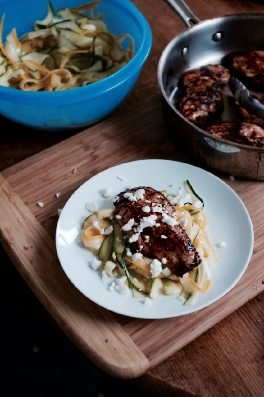Squash Ribbons with Balsamic Glazed Chicken - Hill Reeves