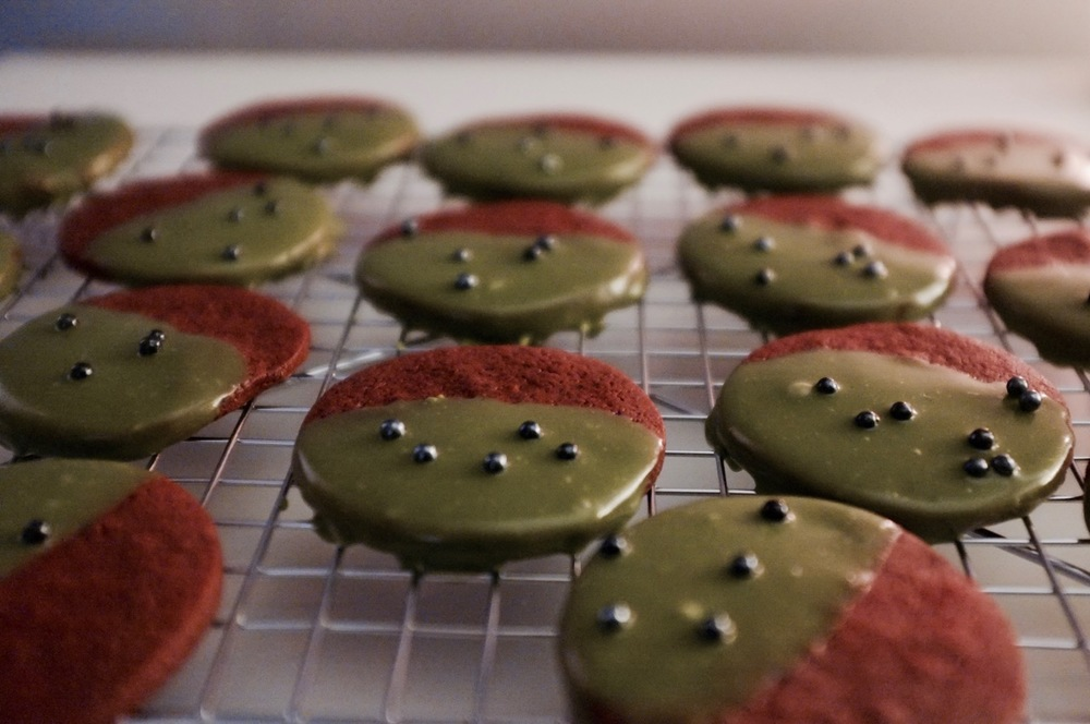 Red Velvet Cookies with Matcha Icing - Hill Reeves