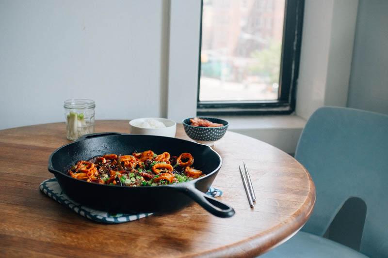 Spicy Korean Squid Stir Fry (Ojinguh Bokkeum) - Hill Reeves