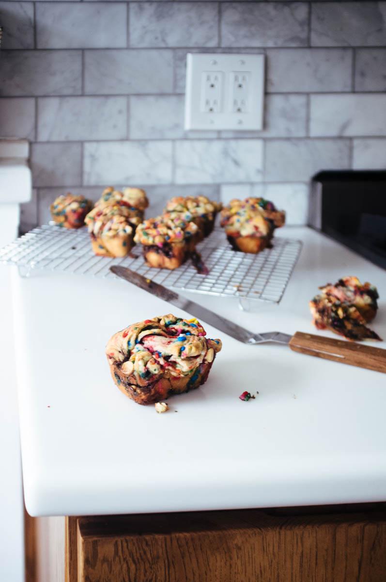 chocolate pecan + funfetti mini babkas - hill reeves