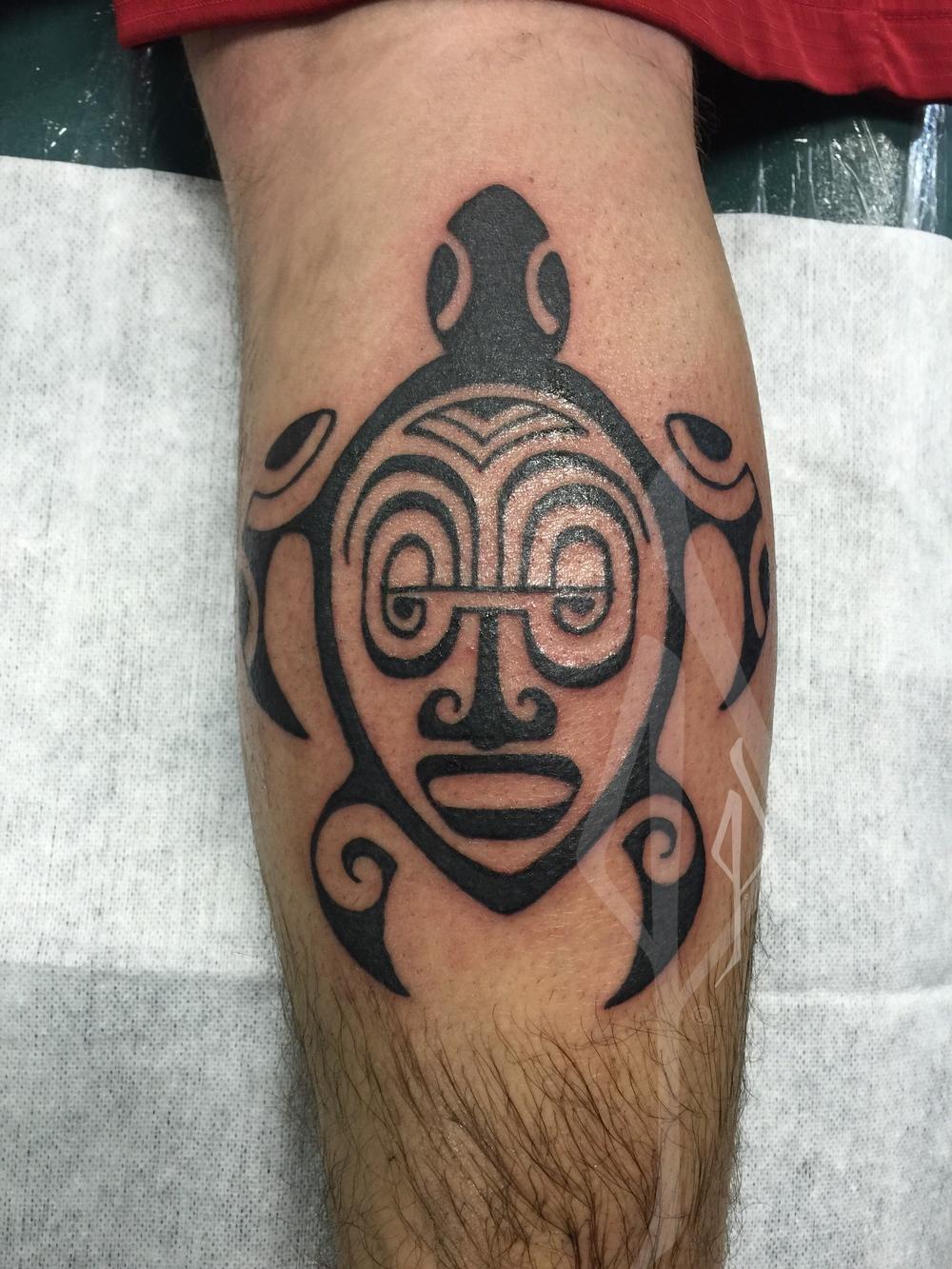 Freehand Polynesian Honu (Sea Turtle) tattoo by Jon Poulson