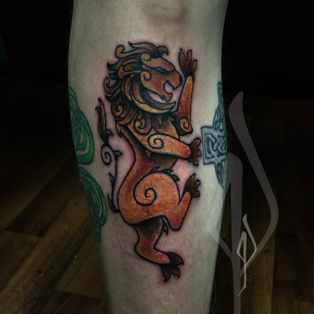 Celtic Lion Tattoo by Jon Poulson