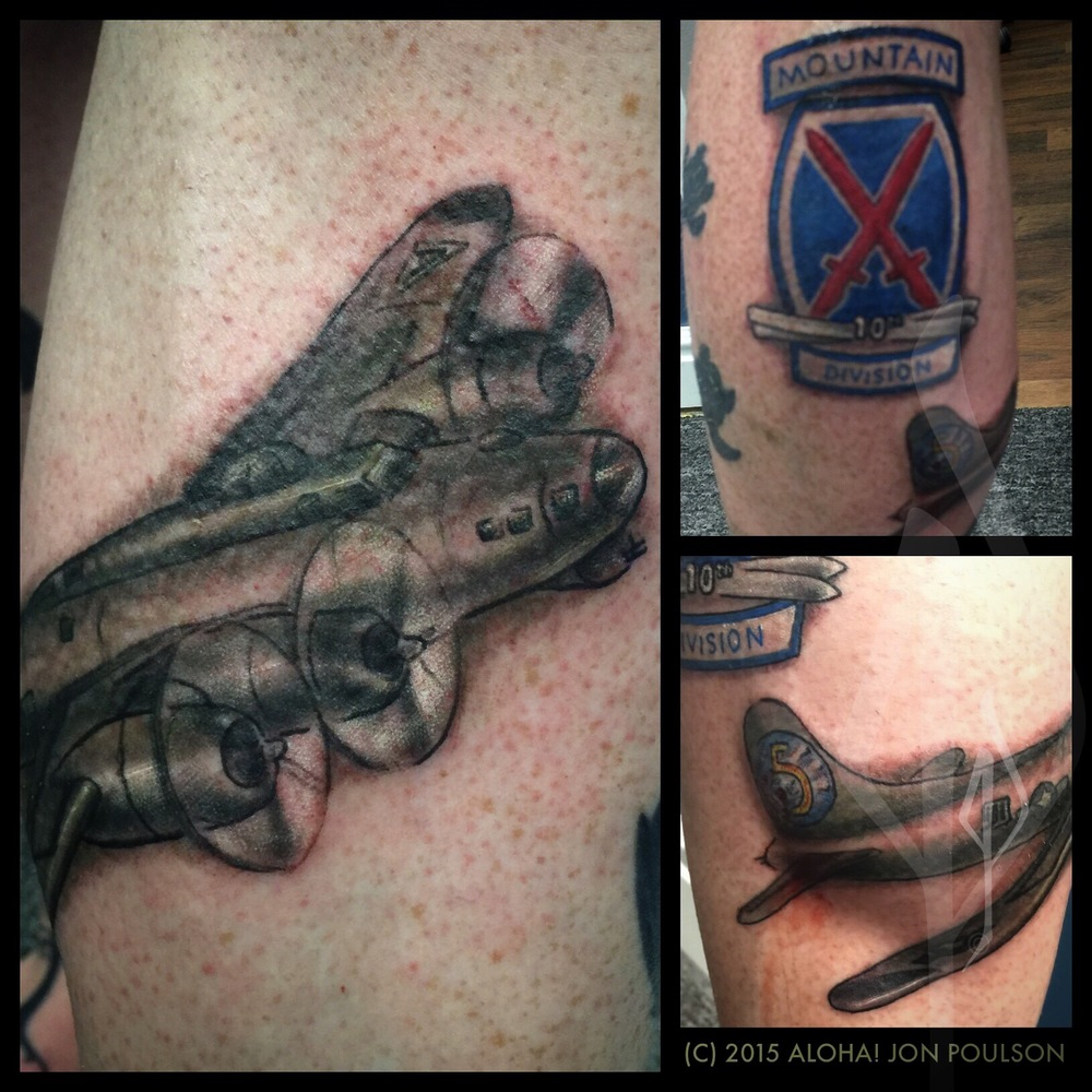 Bomber Plane and 10th Mountain Division logo tattoo by Jon Poulson @alohasaltlake