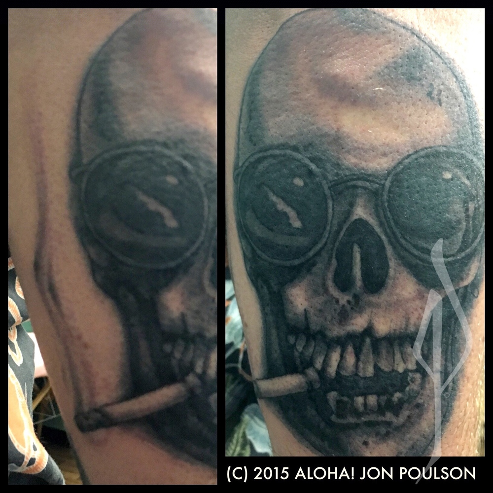 Skull Smoking Tattoo by Jon Poulson