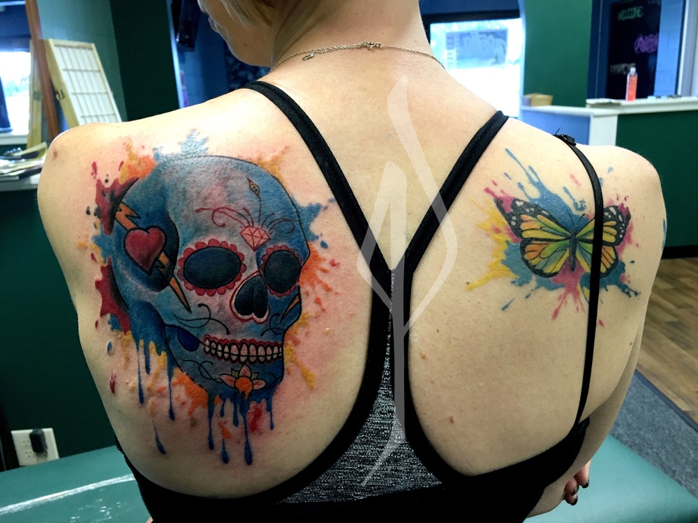 Skull and Butterfly Watercolor Tattoo by Jon Poulson - Aloha Salt Lake Tattoos