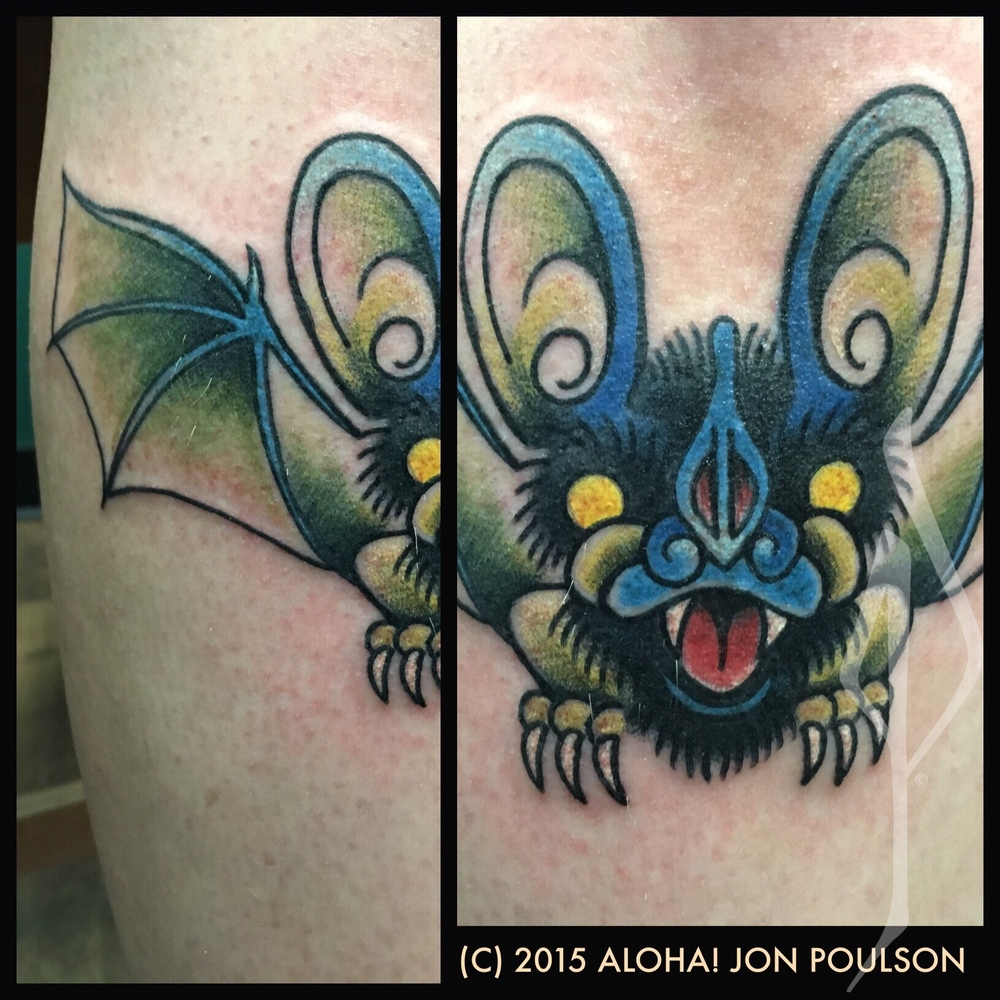 Traditional Bat Tattoo by Jon Poulson - Aloha Salt Lake Tattoos