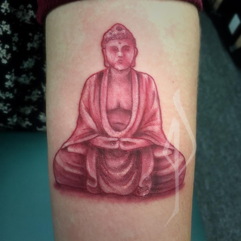 Colored Buddha Tattoo by Jon Poulson - Aloha Salt Lake Tattoos