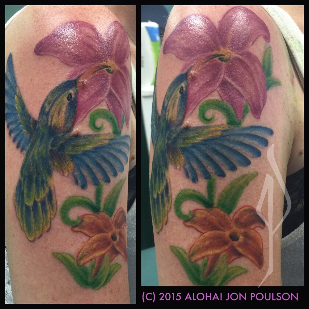 Freehand Watercolor Bird with Flowers Tattoo by Jon Poulson - Aloha Salt Lake Tattoos
