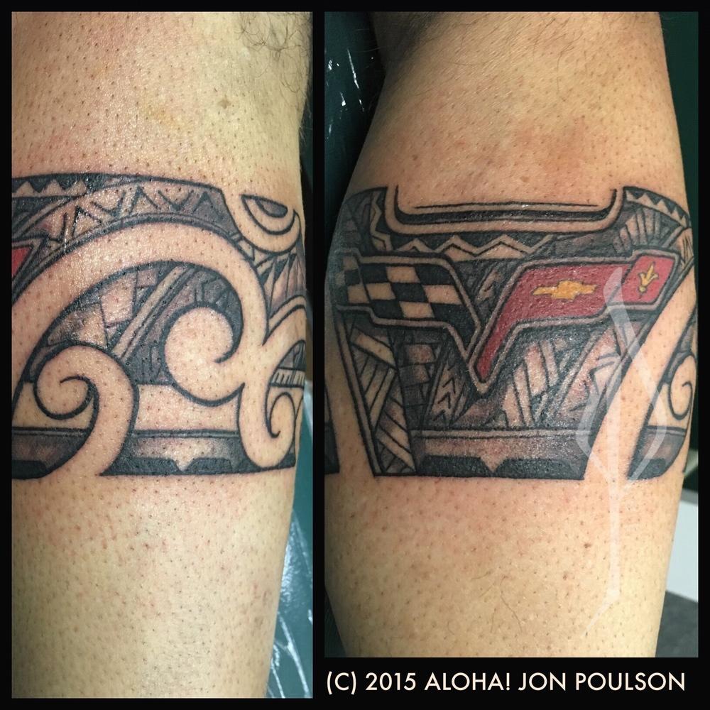 Freehand Polynesian Tribal Tattoo with Corvette Logo by Jon Poulson - Aloha Salt Lakr Tattoos