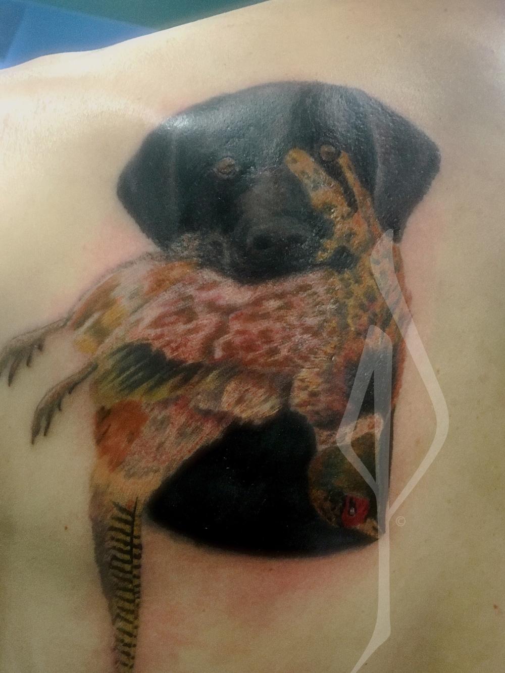 Bird Dog (Lab) with Phesant Tattoo by Jon Poulson - Aloha Salt Lake Tattoos