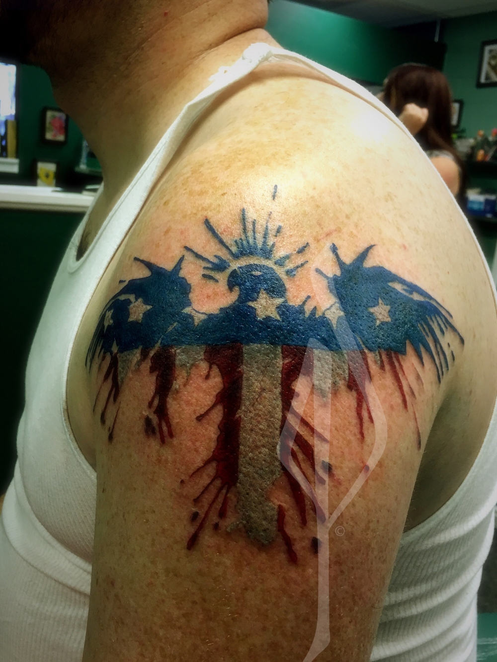 distressed eagle and flag Tattoo by Jon Poulson - Aloha Salt Lake Tattoos