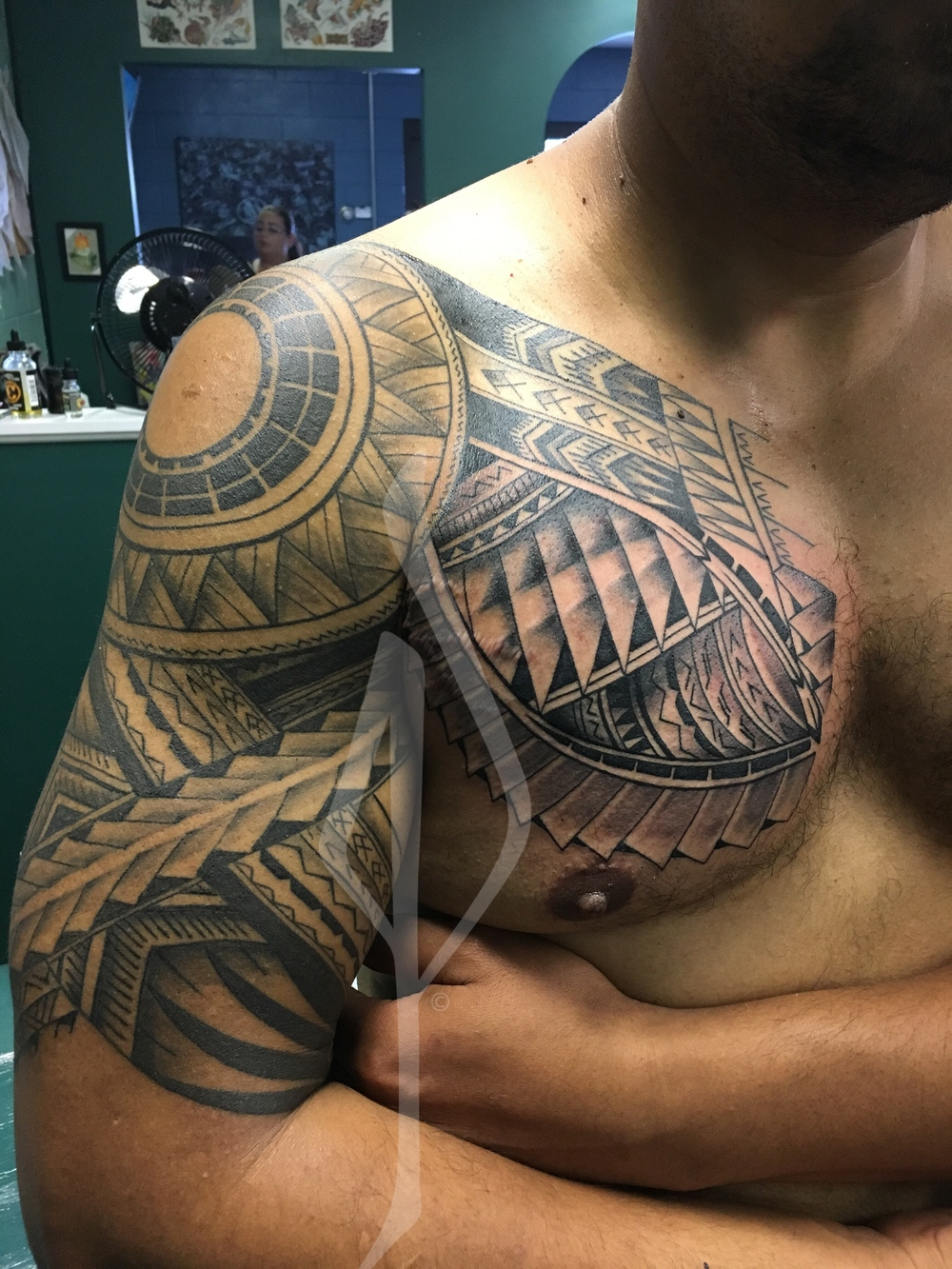 Freehand Polynesian Tribal Tattoo by Jon Poulson - Aloha Salt Lake Tattoos