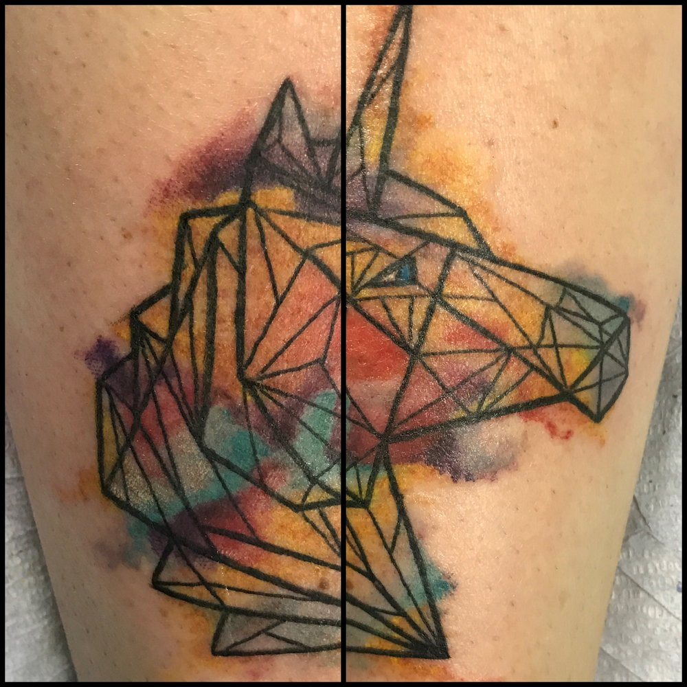 Geometric Unicorn Tattoo by Jon Poulson @ Aloha Salt Lake Tattoos
