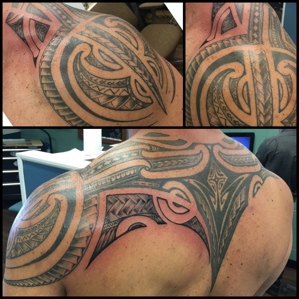 Freehand Polynesian Tribal Shoulder and Back Tattoo by Jon Poulson - Aloha Salt Lake Tattoos