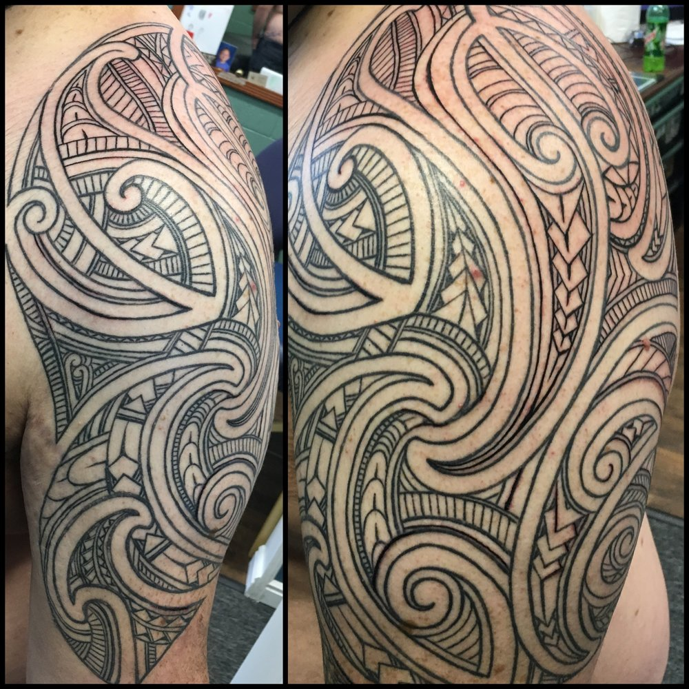Freehand Polynesian Maori Tribal Tattoo by Jon Poulson - Aloha Salt Lake Tattoos