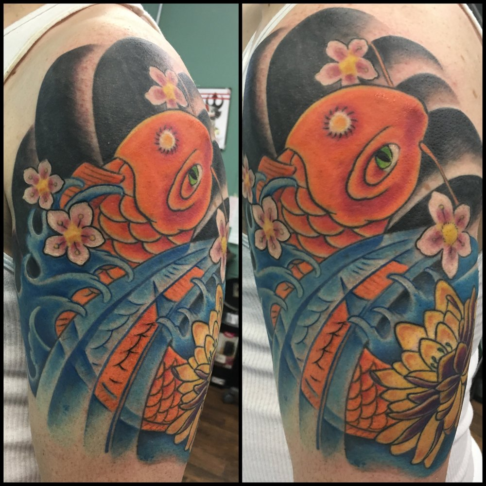 Koi Fish Tattoo by Jon Poulson - Aloha Salt Lake Tattoos