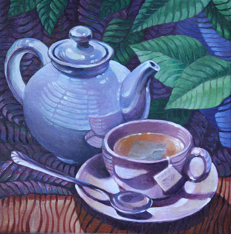 tea time, striped. Oil painting,