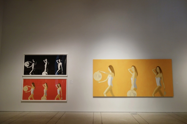 Ariel,  Alex Katz.  Here you can see the transition from color to black and white. The original painting is orange, the print bright red, then on to the black and white.  When you look at these three images together, in person, you can see much more of his hands in the curvature of her figure, you can see how he is looking at the light again. The hat becomes this very minimal object in the black and white. Here is an example where the print minics the original image, yet the black and white appears different with more contrast, and a sense of the lines, objects like the hat appear more minimal.